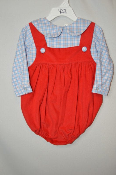 Red Cord Bubble with Blue Plaid Longsleeve Shirt
