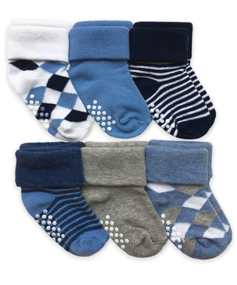 Argyle/Stripe Turn Cuff Non-Skid Boys Socks