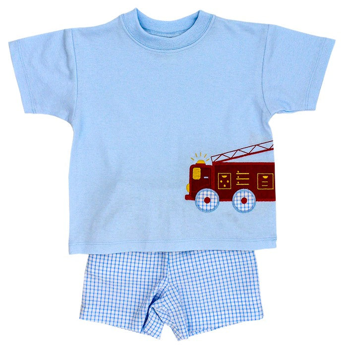 Firetruck Applique Boys Short Set