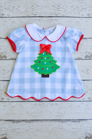 Christmas Tree Applique Dress