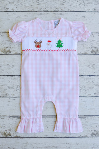Reindeer Games Smocked Girls Romper