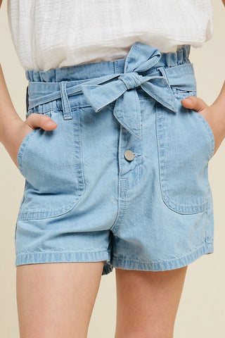 Belted High Rise Paperbag Shorts