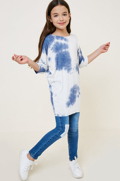 Navy Tie Dye Dolman Sleeve Top