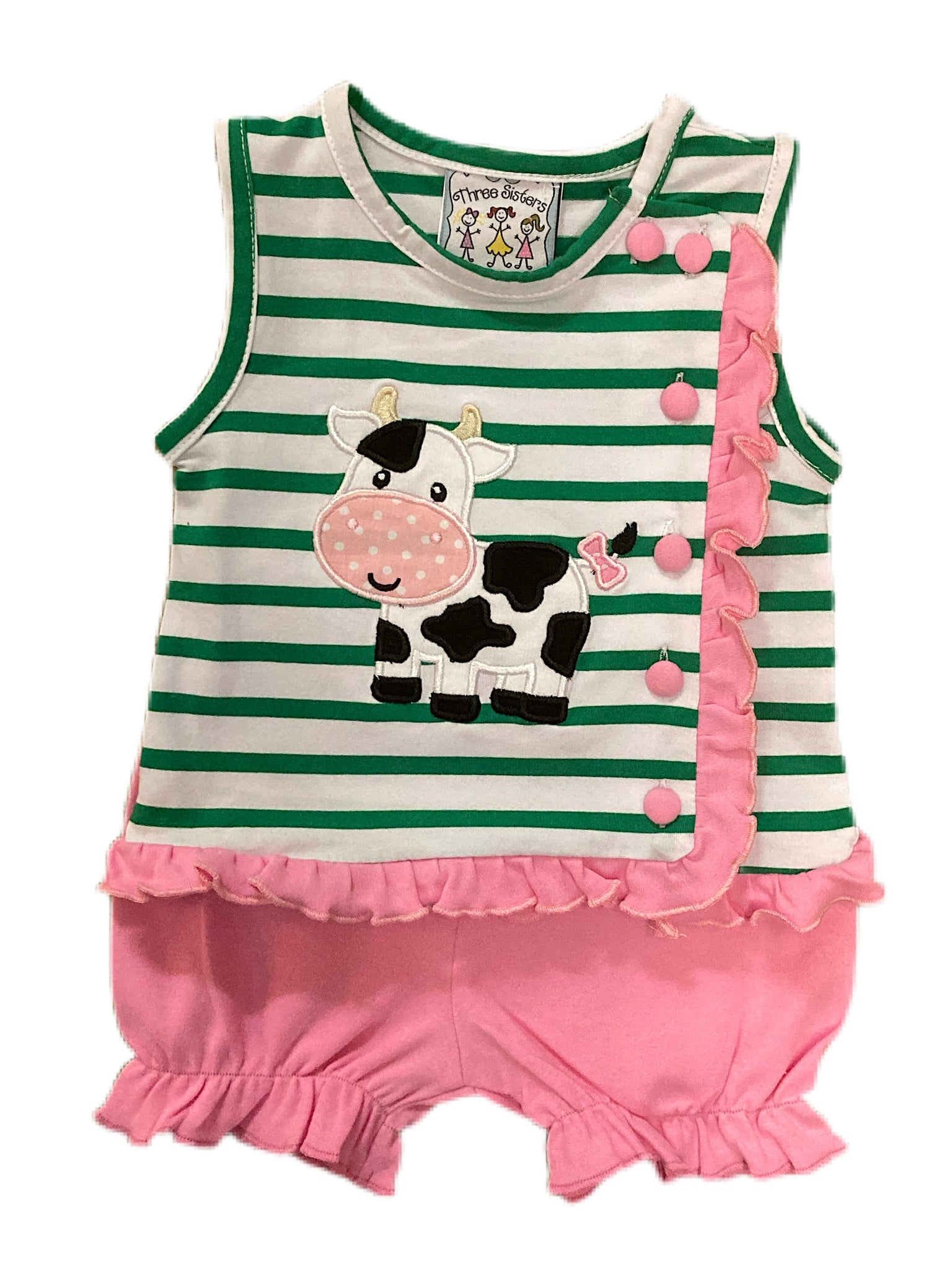 Moo Cow Applique Girls Bloomer Set