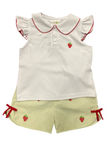 Embroidered Strawberry Blouse and Shorts