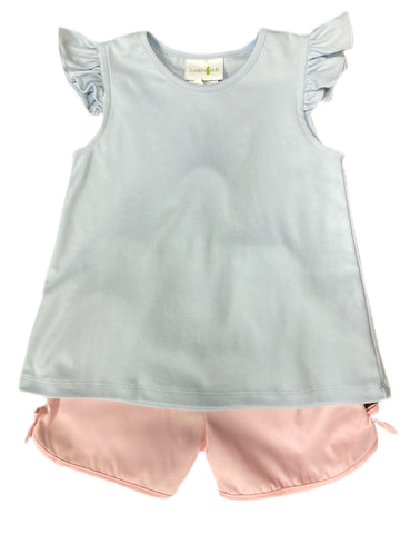 Cloud Angel Sleeve Blouse and Light Pink Skylar Shorts Set