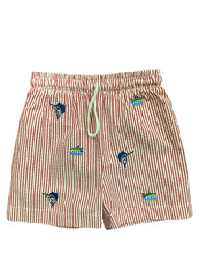 Swordfish Embroidered Seersucker Swim Trunk