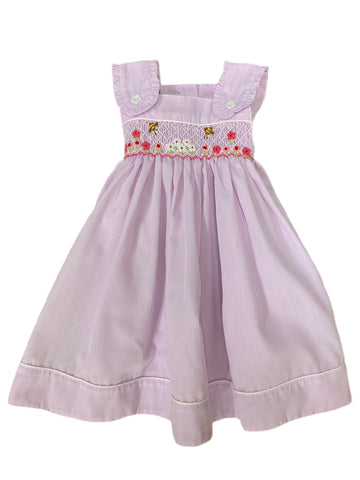 Lavender Stripe Bee and Flowers Smocked Dress