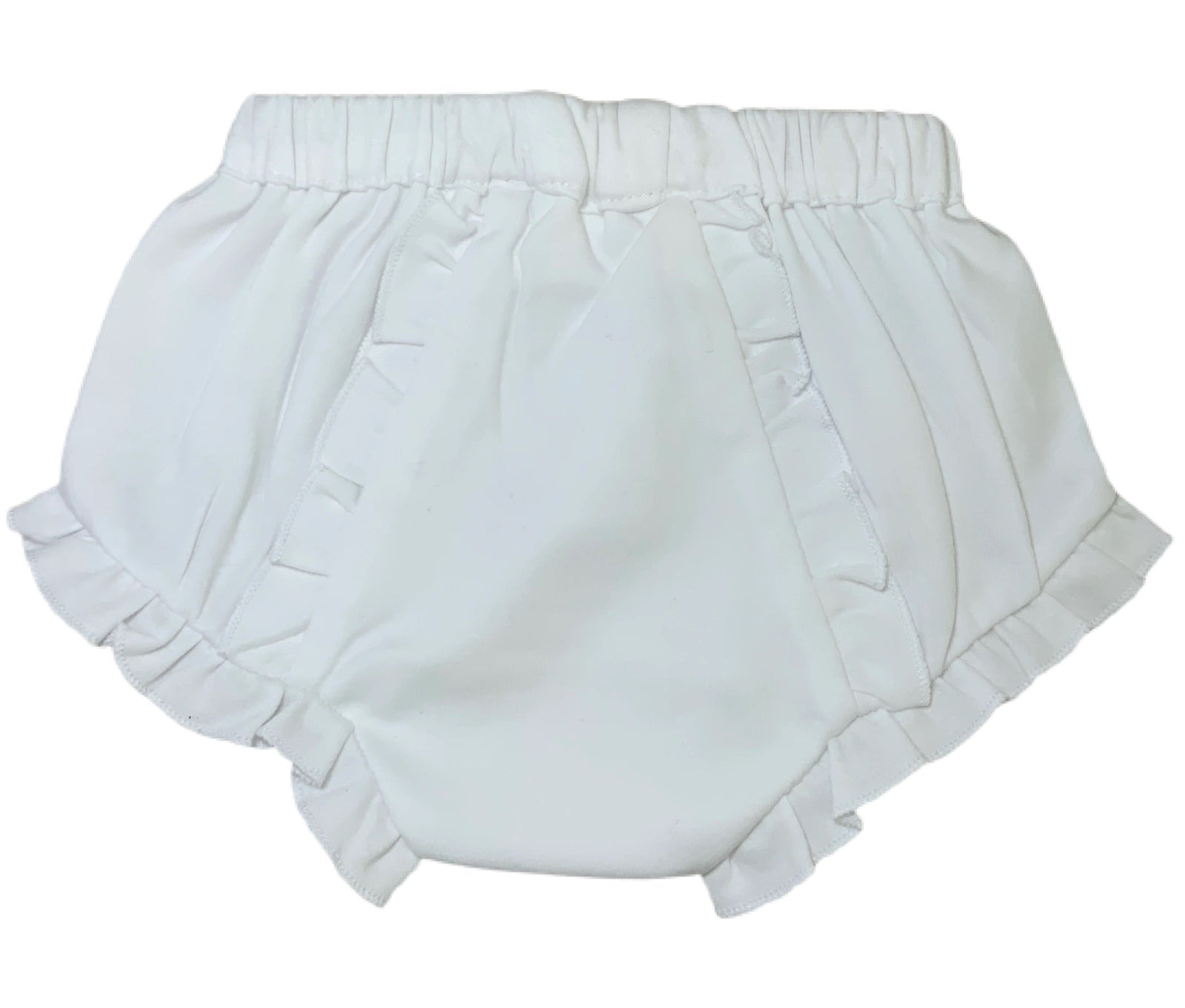White Knit Ruffle Monogrammable Bloomers
