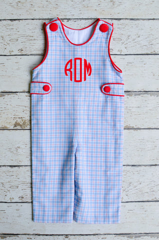 Boys Monogrammable Longall in Blue Plaid