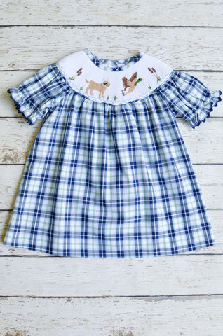 Duck Hunt Smocked Bishop Dress