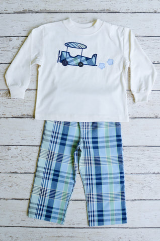 Airplane Applique Boys Pant Set