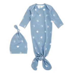 Blue Moon Comfort Knit Knotted Gown and Hat Gift Set 0-3 months