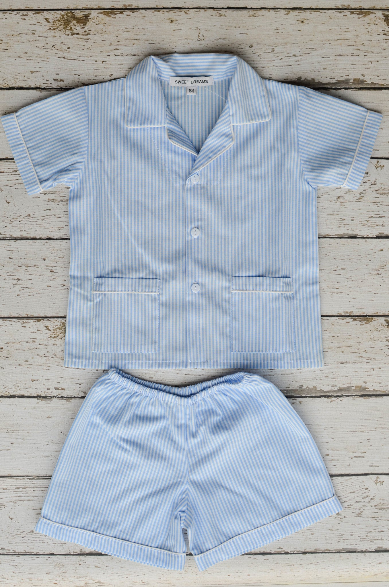 Shortsleeve Blue Stripe Pajamas