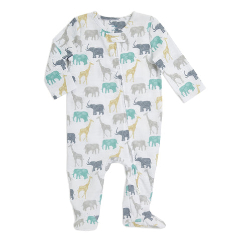 Elephants and Giraffes Long Sleeve Zipper One-piece