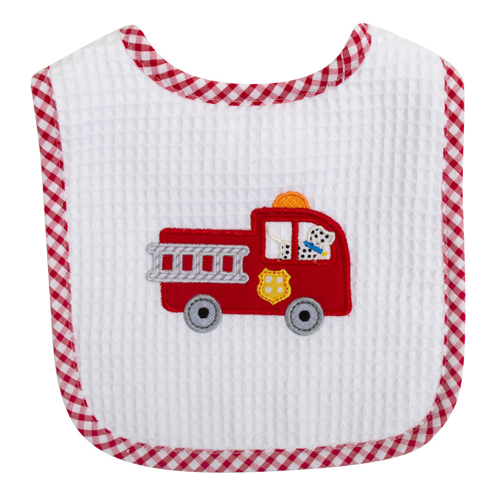 Firetruck Applique Bib