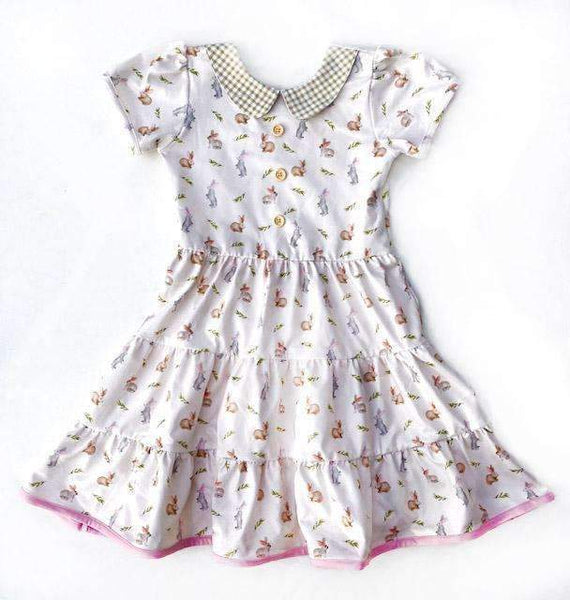 Sweet Vintage Bunnies Short Sleeve Cloud Soft Cross Back Twirl Dress