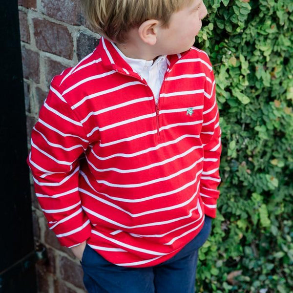Red Stripe Glenn Half Zip Pullover