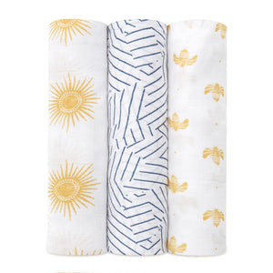 Golden Sun Silky Soft Swaddle 3pk
