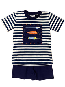 Let's Go Fishing Applique Short Set