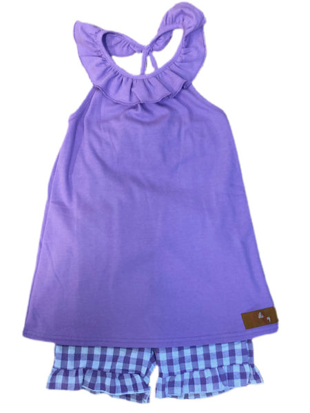 Purple Gingham Lily Short Set