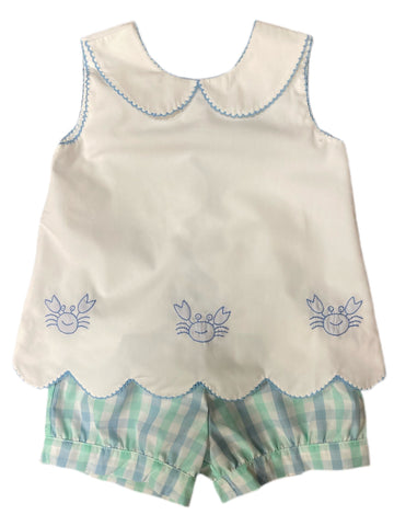 Crab Embroidered Girls Scallop Shorts Set
