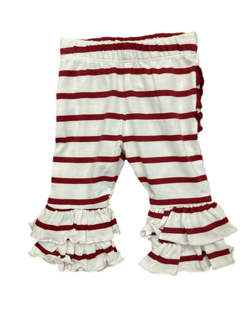 White & Cranberry Stripe Ruffle Pants