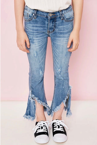 Frayed Distressed Denim Flare Jeans