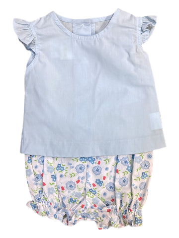 Rosie Blouse with Sky Floral Bloomer Set