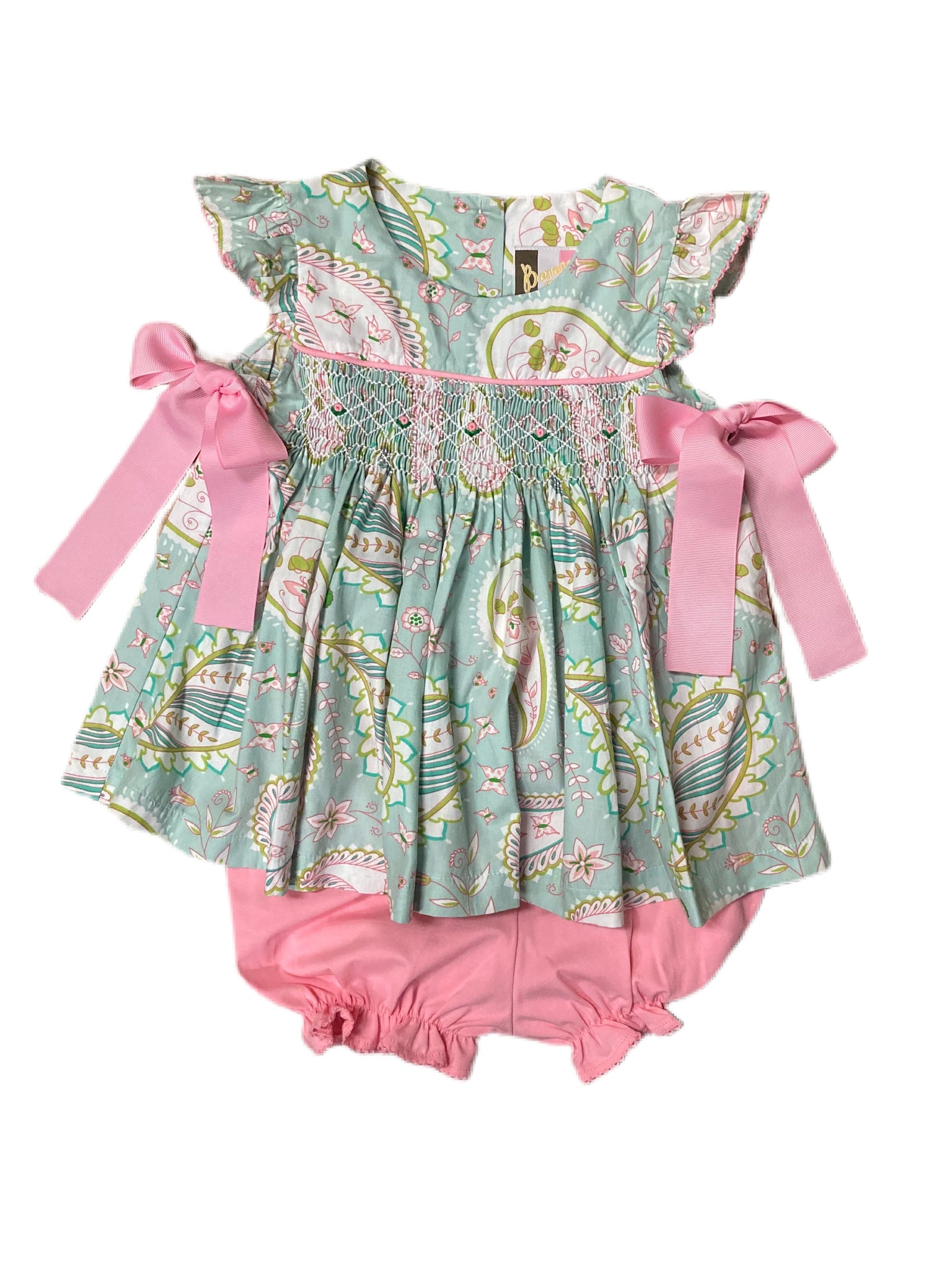 Spring Paisley Smocked Geo Angel Sleeve Bloomer Set