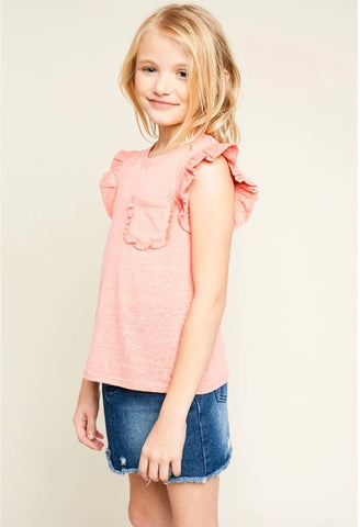 Ruffle T-Shirt with Front Pocket