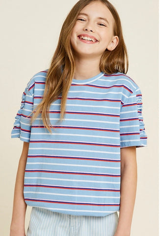 Ruche Sleeve Stripe Knit Top