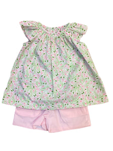 Elaine Blouse with Light Pink Andie Shorts Set