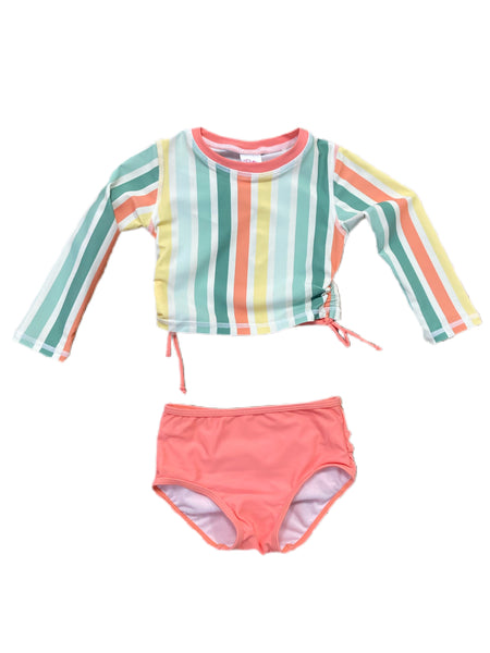 Saltwater Stripe Long Sleeve Cropped Rash Guard Bikini