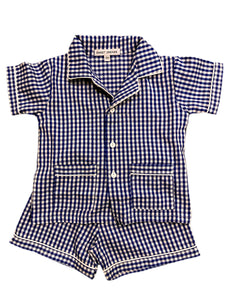 Royal Blue Gingham Short Pajamas