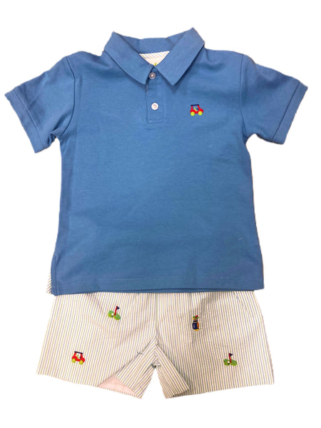 Golf Embroidered Polo and Seersucker Short Set
