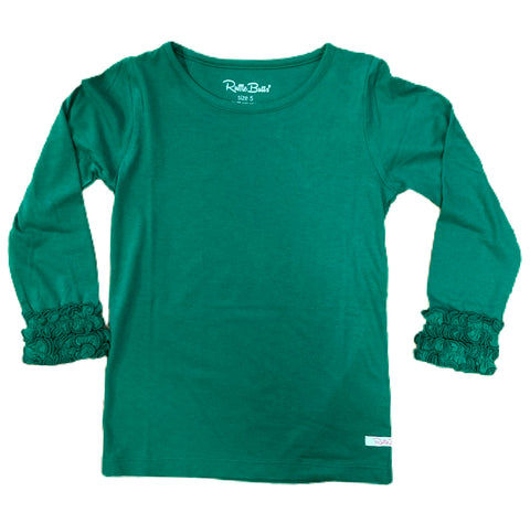 Pine Ruffled Long Sleeve Layering Tee
