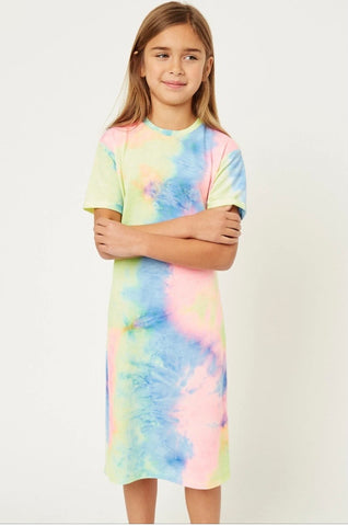 Tie Dye Midi Shirt Dress