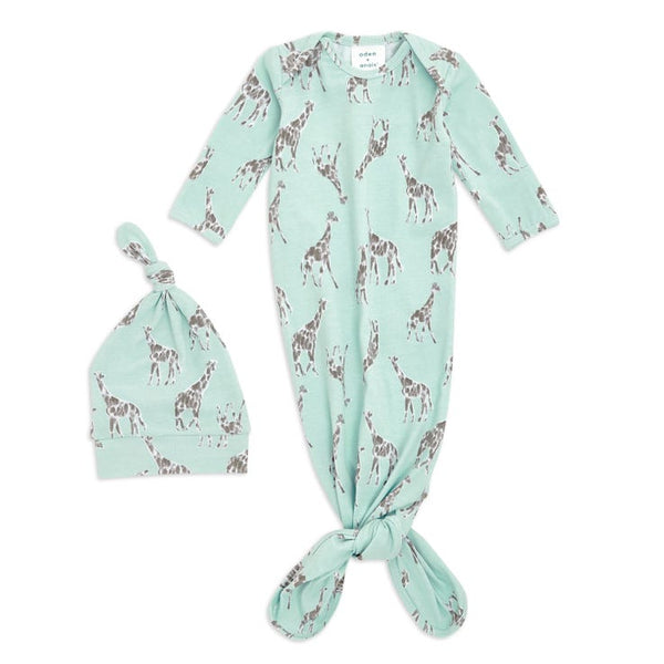 Jade Giraffes Comfort Knit Knotted Gown and Hat Gift Set 0-3 months