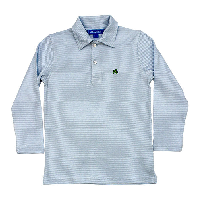 Light Blue Striped Longsleeve Polo