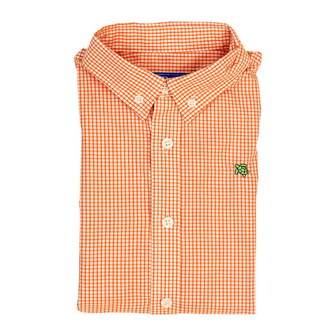 Orange Windowpane Button Down