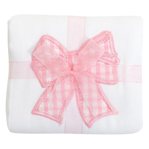 Pink Bow Applique Burp
