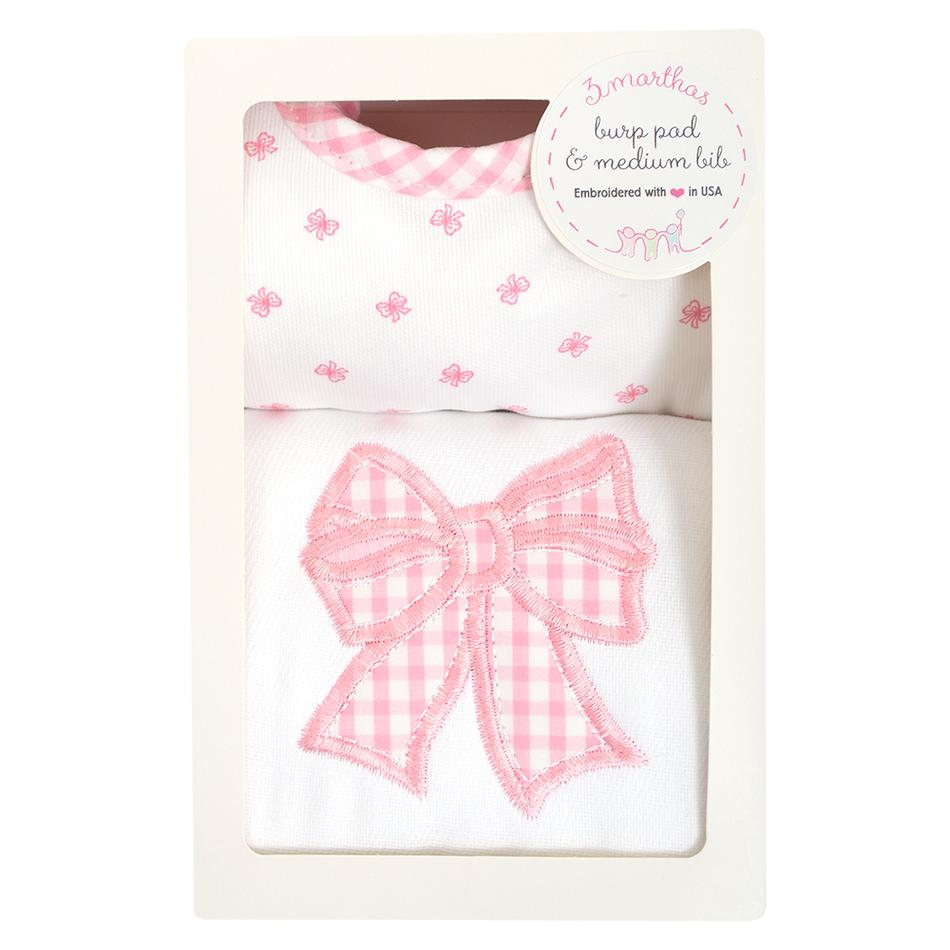 Pink Bow Bib/Burp Box Set