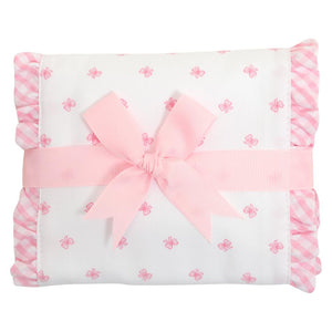 Pink Bow Fancy Fabric Burp