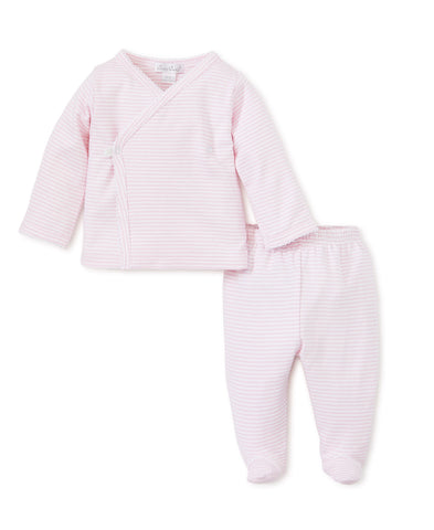 Pink Stripes Footed Pant Set