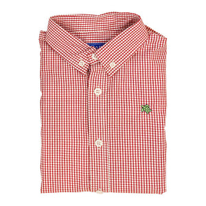 Red Windowpane Button Down