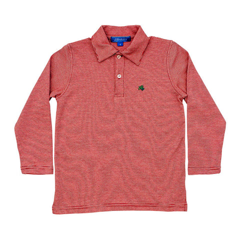 Red Striped Longsleeve Polo