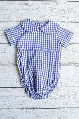 Basic Boy Bubble with Peter Pan Collar in Navy Check