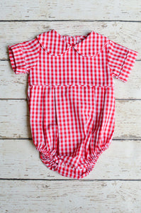 Basic Boy Bubble with Peter Pan Collar in Red Check
