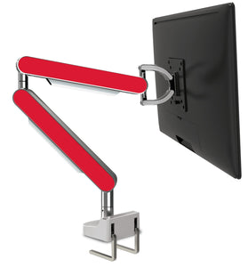 Zgo Technologies, Single Monitor Arm. Polished With Red Side Panels.